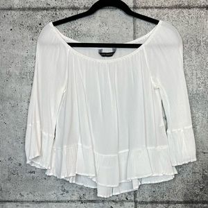 Zara // White Crepe Off the Shoulder Blouse
